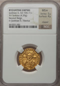 Ancients:Byzantine, Ancients: Justinian II, 2nd reign (AD 705-711). AV solidus (21mm,4.39 gm, 6h). ...