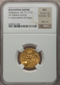 Ancients:Byzantine, Ancients: Philippicus (Bardanes) (AD 711-713). AV solidus (21mm,4.47 g, 6h). ...