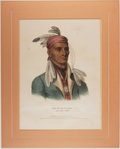 Books:Prints & Leaves, Hand-Colored Lithograph of Shin-Ga-Ba-W'ossin: A ChippewayChief. Taken from McKenney and Hall's History of th...