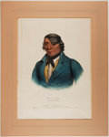 Books:Prints & Leaves, Hand-Colored Lithograph of Waa-Pa-Shaw: A Sioux Chief. Takenfrom McKenney and Hall's History of the Indian Tr...