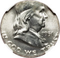 Errors, 1951-D 50C Franklin Half -- Struck on a Type One Quarter Planchet -- MS64 Full Bell Lines NGC....
