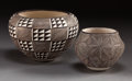 American Indian Art:Pottery, TWO ACOMA BLACK-ON-WHITE JARS. Lucy M. Lewis. c. 1964... (Total: 2Items)