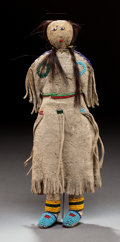 American Indian Art:Beadwork and Quillwork, A PLAINS BEADED HIDE FEMALE DOLL. c. 1890...