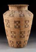 American Indian Art:Baskets, A PIMA COILED STORAGE JAR. c. 1910...