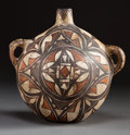 American Indian Art:Pottery, AN ACOMA POLYCHROME CANTEEN. c. 1875...
