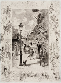 FÉLIX HILAIRE BUHOT (French, 1847-1898) Pair: La Fête Nationale au Boulevard Clichy, 1878; London, <...