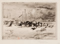 Prints, FÉLIX HILAIRE BUHOT (French, 1847-1898). Beach Scene. Etching. Image: 6-1/2 x 9-1/4 inches (16.5 x 23.5 cm). Sheet: 10-3...