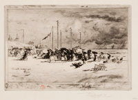 FÉLIX HILAIRE BUHOT (French, 1847-1898) Beach Scene Etching Image: 6-1/2 x 9-1/4 inches (16.5 x 2