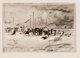 FÉLIX HILAIRE BUHOT (French, 1847-1898) Beach Scene Etching Image: 6-1/2 x 9-1/4 inches (16.5 x 23.5 cm) Sheet: 1...