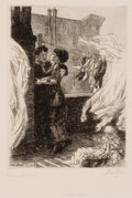 Fine Art - Work on Paper:Print, JOHN FRENCH SLOAN (American, 1871-1951). Love on the Roof,1914. Line etching. Image: 5-3/4 x 4-1/2 inches (14.6 x 11.4 ...