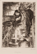 Fine Art - Work on Paper:Print, JOHN FRENCH SLOAN (American, 1871-1951). Subway Stairs,1926. Line etching. Image: 7 x 5 inches (17.8 x 12.7 cm). Sheet:...