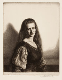 GERALD L. BROCKHURST (American, 1890-1978) Pair of Portraits Etchings Main image: 9 x 6-3/4 inche