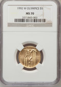 Modern Issues, 1992-W G$5 Olympic Gold Five Dollar MS70 NGC. NGC Census: (0). PCGSPopulation (346). Mintage: 27,732. Numismedia Wsl. Pric...