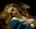 Fine Art - Painting, European, HUGUES MERLE (French, 1823-1881). Mary Magdalene in theCave, 1868. Oil on canvas. 17-3/4 x 23-1/2 inches (45.1 x 59.7c...