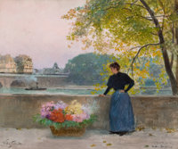 VICTOR GABRIEL GILBERT (French, 1847-1933) Le Pont Nuit (La Place Dauphin), circa 1890-95 Oil on can