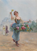 Fine Art - Painting, European, LOUIS MARIE DE SCHRYVER (French, 1862-1942). La Marchande des Fleurs, 1901. Oil on panel. 8-1/4 x 5-3/4 inches (21.0 x 1...