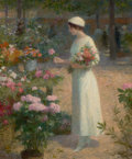 Fine Art - Painting, European, VICTOR GABRIEL GILBERT (French, 1847-1933). Le Marché aux Fleurs. Oil on canvas. 18 x 15 inches (45.7 x 38.1 cm). Signed...