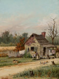 Fine Art - Painting, American, WILLIAM AIKEN WALKER (American, 1838-1921). Rickety Ole'Cabin. Oil on academy board. 12-1/4 x 9-1/4 inches (31.1 x23.5...
