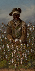 Fine Art - Painting, American, WILLIAM AIKEN WALKER (American, 1838-1921). Pickin' Cotton.Oil on board. 12-1/4 x 6-1/4 inches (31.1 x 15.9 cm). Signed...