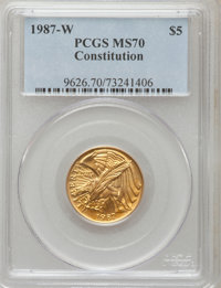 1987-W G$5 Constitution Gold Five Dollar MS70 PCGS. PCGS Population (1204). NGC Census: (4890). Mintage: 214,225. Numism...