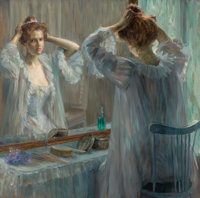 LOUISE CATHERINE BRESLAU (Swiss, 1856-1927) La Toilette, 1898 Oil on canvas 24-3/4 x 25-3/4 inche