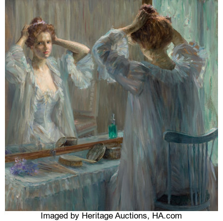 LOUISE CATHERINE BRESLAU (Swiss, 1856-1927) La Toilette, 1898 Oil on canvas 24-3/4 x 25-3/4 inches (62.9 x 65.4 cm) ...