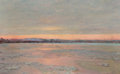 Fine Art - Painting, American:Modern  (1900 1949)  , EDWARD EMERSON SIMMONS (American, 1852-1931). Winter Twilight onthe Charles River. Oil on canvas. 13-1/4 x 21-1/2 inche...