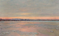 EDWARD EMERSON SIMMONS (American, 1852-1931) Winter Twilight on the Charles River Oil on canvas 1