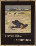 "Movie Posters:War, World War II ""A Careless Word... A Needless Loss"" (U.S. GovernmentPrinting Office, 1943). Propaganda Poster (22"" X 28""). Wa..."