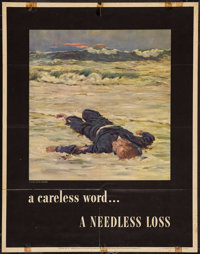 "World War II ""A Careless Word... A Needless Loss"" (U.S. Government Printing Office, 1943). Propaganda Poster (..."