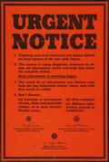 "Movie Posters:War, World War II Propaganda (U.S. Government Printing Office, 1945).Poster (17.25"" X 26""). OWI Poster No. 647120. FBI Warning -..."