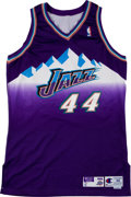 Basketball Collectibles:Uniforms, 1998-99 Greg Foster Game Worn Utah Jazz Uniform....
