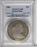 Early Dollars: , 1800 $1 Dotted Date VG8 PCGS. B-14, BB-194, R.2. Pleasing pale graysurfaces with lighter tan...