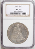 Seated Dollars: , 1845 $1 AU53 NGC. Well struck and lightly worn, with mauve andantique-gold toning and some w...