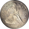 Proof Seated Dollars: , 1857 $1 PR64 PCGS. Two obverse dies were used to strike proof 1857dollars. This piece is str...