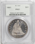 Proof Seated Dollars: , 1861 $1 PR61 PCGS. A lightly hairlined example that has arazor-sharp strike. The frosty devi...