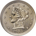 Patterns: , 1853 P1C One Cent, Judd-151, Pollock-178, Low R.6, PR64 NGC. A regular issue Liberty quarter eagle obverse is paired with a...