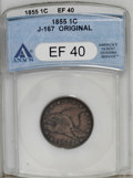 1855 P1C Flying Eagle Cent, Judd-167 Original, Pollock-193, R.5, XF40 ANACS. A Flying Eagle cent pattern in a large form...