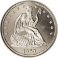 Patterns: , 1863 50C Half Dollar, Judd-340, Pollock-412, Low R.6, PR64 ★ CameoNGC. Similar to the regula...