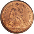 1864 10C Ten Cents, Judd-381, Pollock-449, R.7, PR65 Red PCGS. Regular die trials issue for the Seated dime. Struck in c...