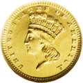 Proof Gold Dollars: , 1887 G$1 PR64 Ultra Cameo NGC. The Guide Book reports a mintage of 1,043 proofs were struck. For a 19th century gold pr...