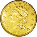 Classic Quarter Eagles: , 1837 $2 1/2 MS61 PCGS. McCloskey-B, R.3. The easy attribution is confirmed by three lines in each shield stripe, and the la...