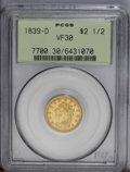 Classic Quarter Eagles: , 1839-D $2 1/2 VF30 PCGS. Winter 1-B, McCloskey-B, R.4. A yellow-gold piece with moderate wear concentrated at the highpoint...