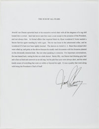Tom Clancy (American Writer, 1947-). Signed Excerpt from Clancy's Novel, The Sum of All Fears.<