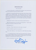 Autographs:Celebrities, Kirk Douglas (American Actor, 1916-). Signed Excerpt from Douglas'Autobiography, The Ragman's Son. [n.d.]. Signed i...
