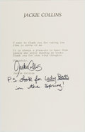 Autographs:Authors, Jackie Collins (1941-, American Author). Typed Letter Signed on Author's Stationery. [n.d.]. Approximately 8.5 x 5.5 inches....