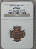 1861 William Wagner, Ann Arbor, MI, F-40E-3a, R.8, MS63 Red and Brown NGC
