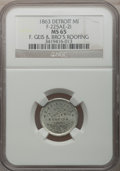 Civil War Merchants, 1863 F. Geis, Detroit, MI, F-225AE-2i, R.9, MS65 NGC. ...