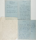 Autographs:Authors, Theodore Dreiser (1871-1945, American Writer). Four AutographLetters Signed. Hollywood, 1944-1946. All addressed to Elaine ...