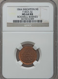 Civil War Merchants, 1864 Roswell Barnes, Brighton, MI, F-85A-3a, R.9, MS64 Red andBrown NGC....